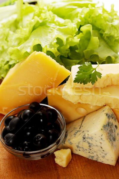 Kaas olijven sla stilleven verschillend Blauw Stockfoto © mallivan