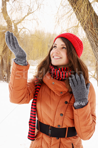 Gelukkig vrouw sneeuw jonge vrouw sneeuwvlokken hand Stockfoto © mallivan