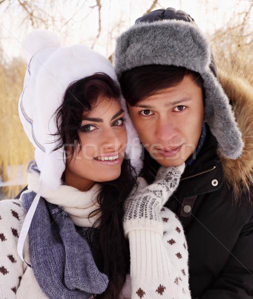 Mooie paar portret jonge natuur winter Stockfoto © mallivan