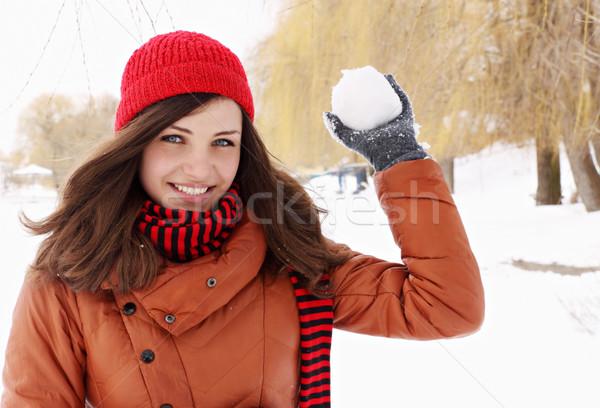 Kartopu kadın kırmızı kapak saç Stok fotoğraf © mallivan