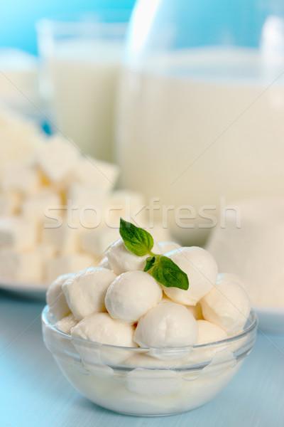 Stockfoto: Mozzarella · klein · transparant · kom · groep