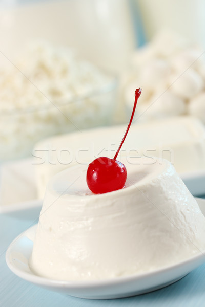 ricotta  with cherry Stock photo © mallivan