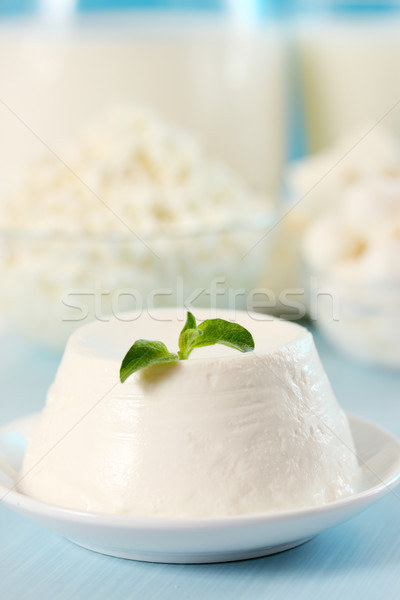 Fromages feuille origan dessert bois lait Photo stock © mallivan