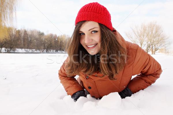 Vrouw sneeuw mooie jonge vrouw hand mode Stockfoto © mallivan