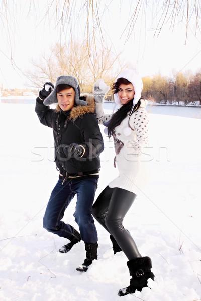 çift mutlu kar şapka Noel Stok fotoğraf © mallivan