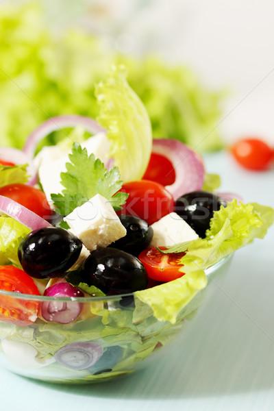 Yunan salata peynir domates zeytin doğa Stok fotoğraf © mallivan