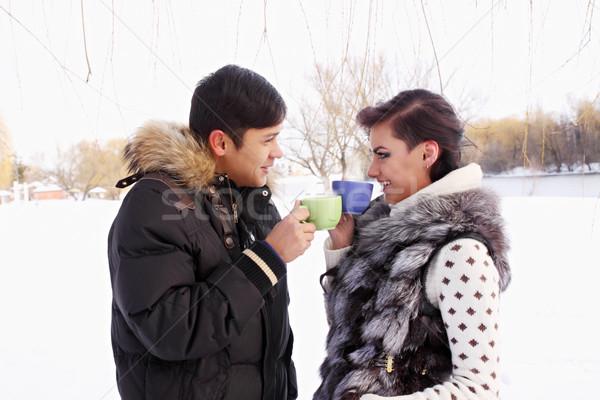 Boisson chaude hiver extérieur alimentaire amour Photo stock © mallivan