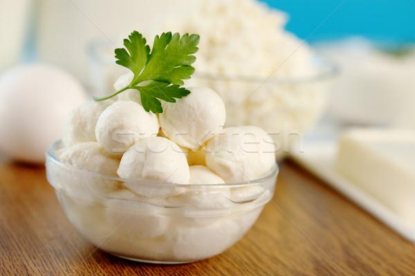 Mozzarella peterselie klein transparant kom Stockfoto © mallivan