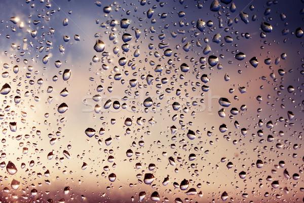 Pluie coucher du soleil gouttes verre ciel eau Photo stock © mallivan