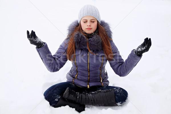 девушки Lotus создают снега женщину Сток-фото © mallivan
