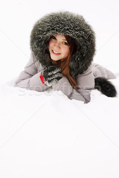 Meisje sneeuw jonge vrouw bont natuur haren Stockfoto © mallivan