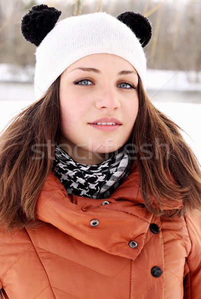Сток-фото: портрет · женщину · красивая · женщина · Hat · ушки · улыбка
