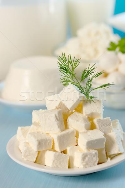 Fetasajt vág szeletek tányér levél egészség Stock fotó © mallivan