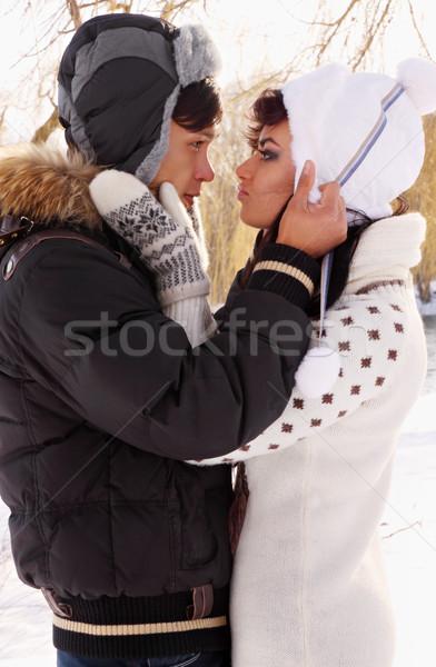 пару любви молодые красивой природы зима Сток-фото © mallivan