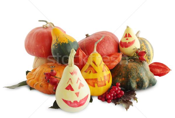 Geschilderd halloween pompoenen witte voedsel oranje Stockfoto © mallivan