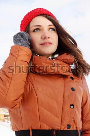 сердце снега женщину льда рук улыбка Сток-фото © mallivan