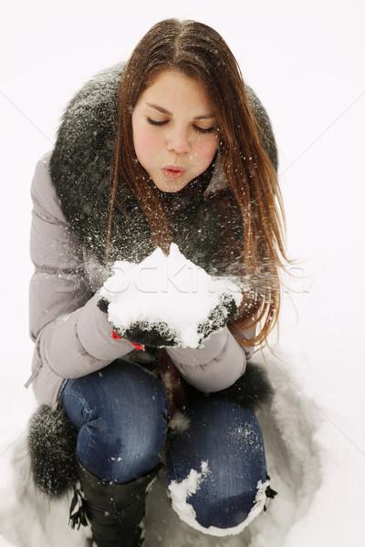 девушки снега рук природы Сток-фото © mallivan