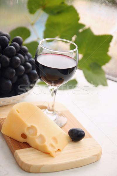 Sweet вино натюрморт рюмку сыра виноград Сток-фото © mallivan
