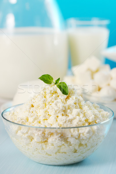Süzme peynir keklikotu şeffaf çanak içmek peynir Stok fotoğraf © mallivan