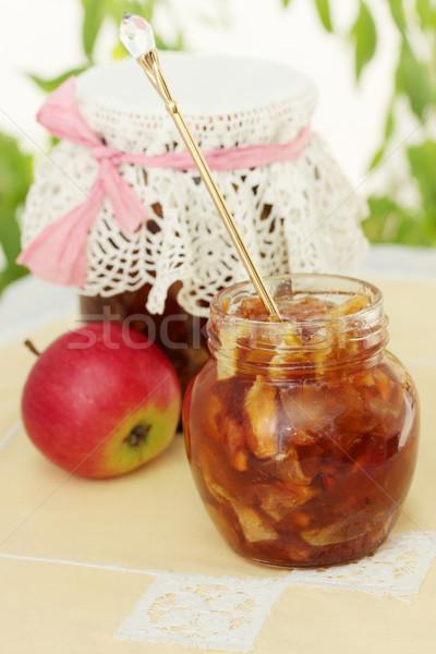 Jam lepel appel specerijen voedsel Stockfoto © mallivan