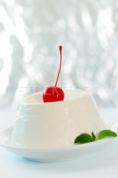 Stockfoto: Dessert · kersen · kaas · cocktail · kers · hout