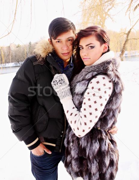 Paar natuur winter jonge mooie liefde Stockfoto © mallivan