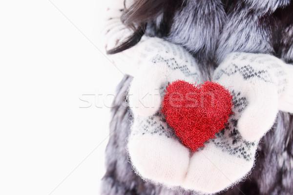 Handen wollen wanten Rood hart Stockfoto © mallivan