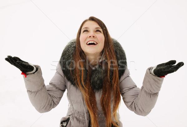 girl rejoices to snow Stock photo © mallivan