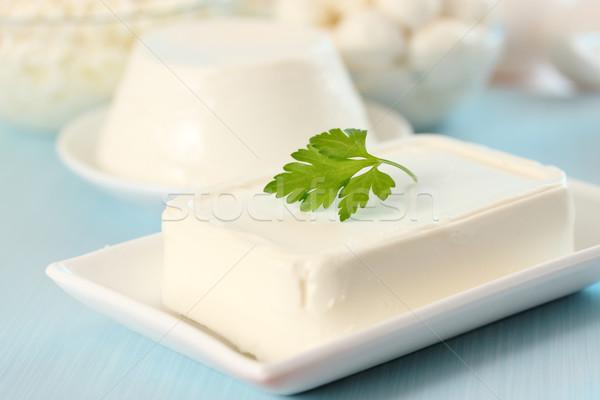作品 フェタチーズ プレート 葉 健康 ストックフォト © mallivan