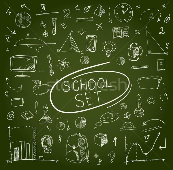 school big set on blackboard. Vector illustration. Stock photo © Mamziolzi