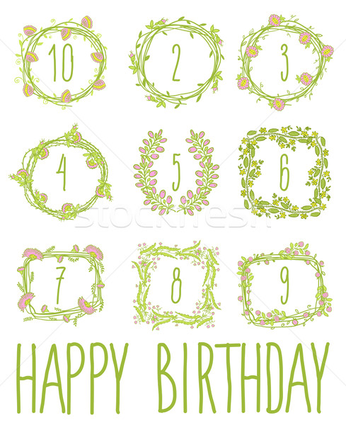 Joyeux anniversaire carte invitation floral design graphique Photo stock © Mamziolzi