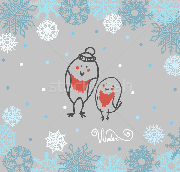 Funny birds bullfinch on winter background snowflakes  Stock photo © Mamziolzi