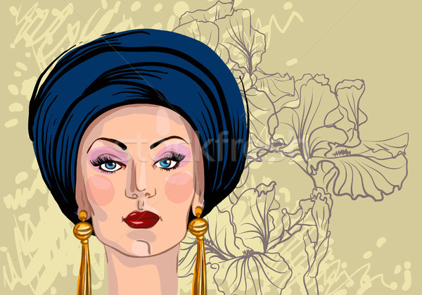Kadın peçe moda saç dudaklar Stok fotoğraf © Mamziolzi