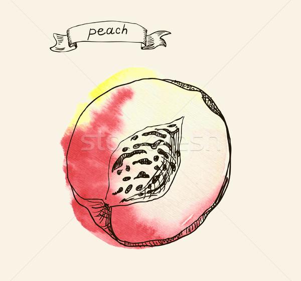 桃 デザイン 葉 フルーツ 庭園 オレンジ ストックフォト © Mamziolzi
