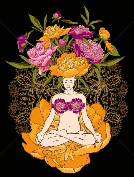 Stock photo: beautiful woman doing yoga meditation