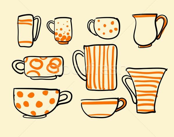 Foto stock: Conjunto · vetor · ícones · chá · xícaras · de · café