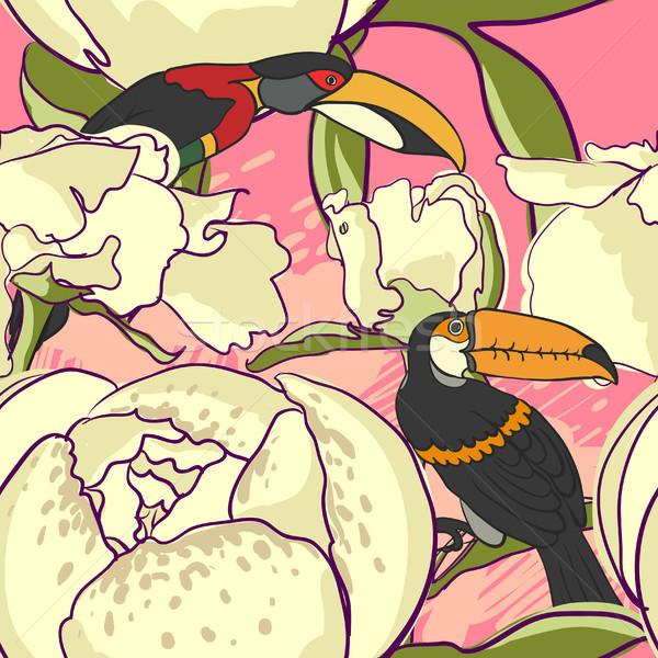 Seamless floral background with peonies bird Stock photo © Mamziolzi