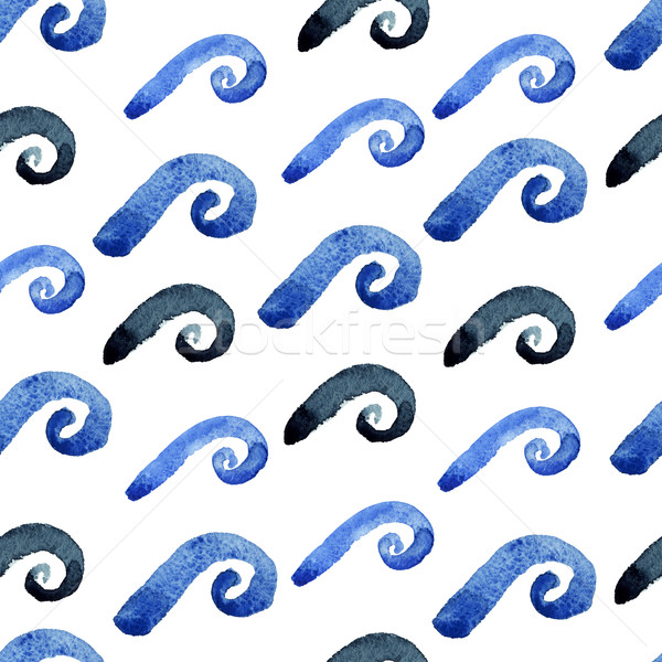 Abstract watercolor blue wave pattern Stock photo © Mamziolzi