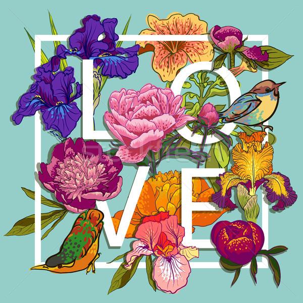 Floreale uccelli amore graphic design colorato fiori Foto d'archivio © Mamziolzi