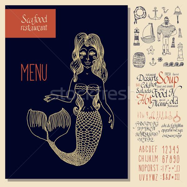 Klasszikus tengeri hal menü terv kéz rajz Stock fotó © Mamziolzi