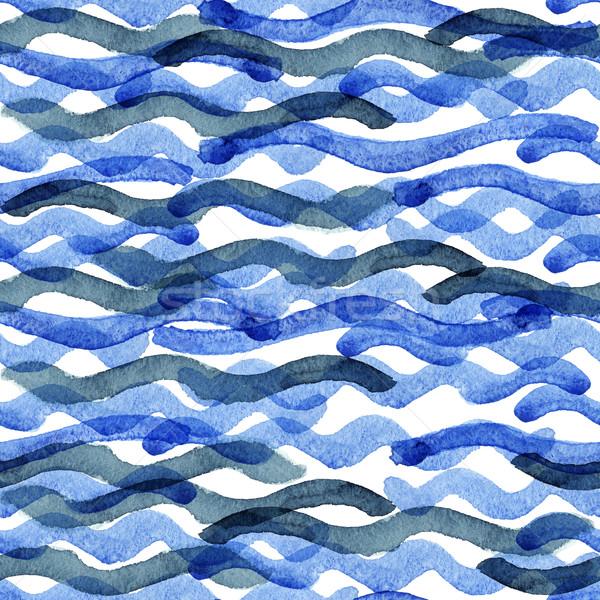 Streszczenie akwarela niebieski wzór fali wody tekstury Zdjęcia stock © Mamziolzi
