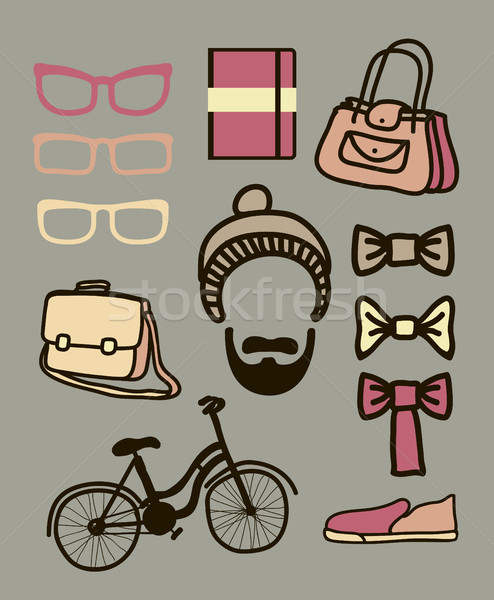 Vector set of hipster Stock photo © Mamziolzi