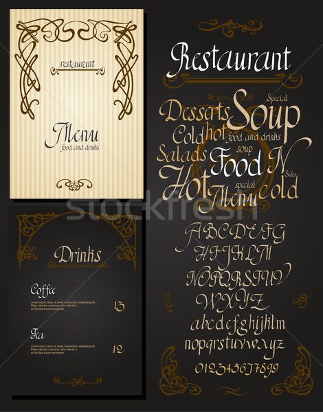 Conjunto vintage restaurante menu art noveau projeto Foto stock © Mamziolzi