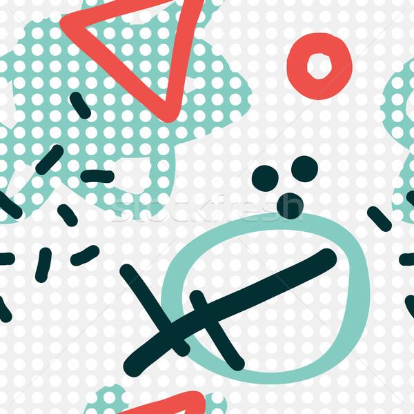 Stock photo: Modern hand draw abstract seamless pattern