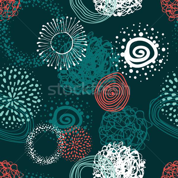 Vektor szövet körök absztrakt végtelen minta kézzel rajzolt Stock fotó © Mamziolzi
