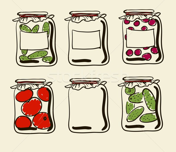 Jars with preserves homemade vegetables and jam. Stock photo © Mamziolzi