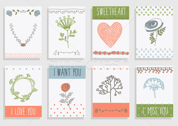 set of template design for greeting card. Stock photo © Mamziolzi