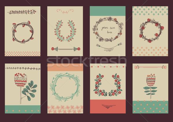 Zdjęcia stock: Zestaw · szablon · projektu · kartkę · z · życzeniami · duży · kwiatowy