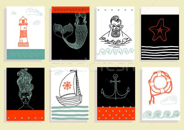 Foto stock: Conjunto · marinheiro · farol · sereia · navio · outro