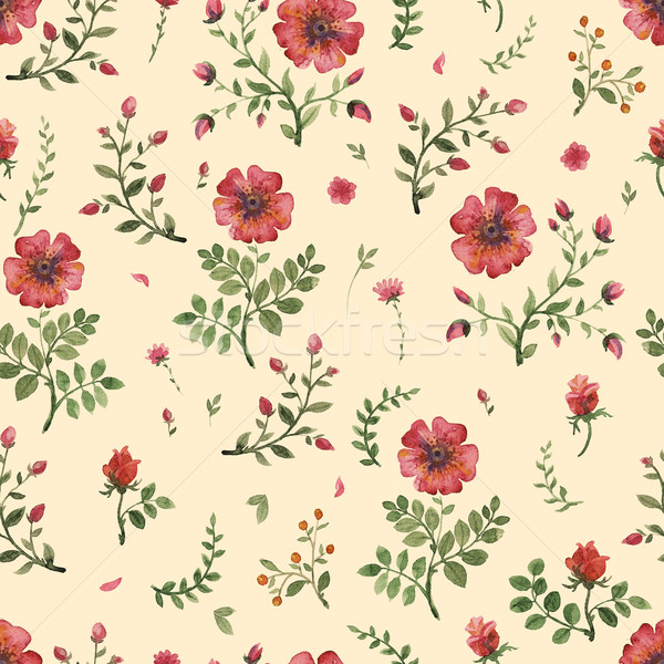 Stock photo: flowers watercolor pattern